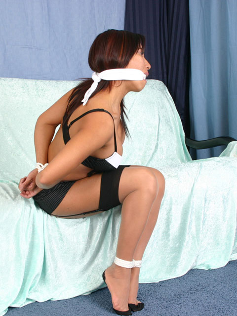 Asian tied bound gagged